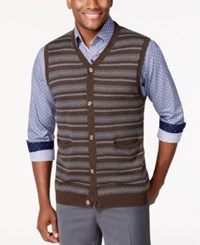 Tasso Elba Big And Tall Fairisle Argyle Sweater Vest Only At Macy's Dark Brown Combo