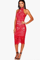 Boohoo Ayn Lace Open Back Midi Bodycon Dress Red