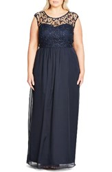 City Chic Plus Size Women's Sequin Lace Gown Navy Midnight