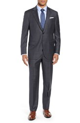 Peter Millar Flynn Classic Fit Windowpane Wool Suit Charcoal