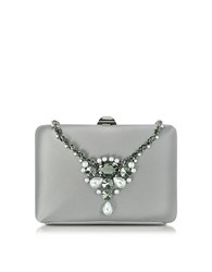 Rodo Satin Silk Collier Clutch W Crystals Silver
