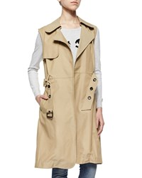 Milly Sleeveless Belted Waterproof Trench Coat Khaki