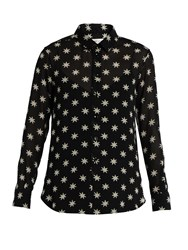 Saint Laurent Star Print Silk Shirt Black White