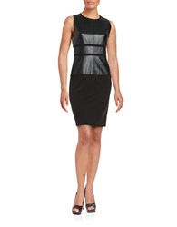Ivanka Trump Faux Leather Accented Sheath Dress Black