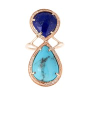 Jacquie Aiche Diamond Lapis Turquoise And Rose Gold Ring
