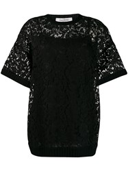 Valentino Heavy Lace T Shirt Black