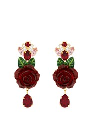 Dolce And Gabbana Rose Crystal Drop Earrings Red