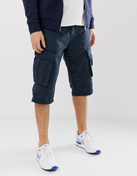 Esprit Long Relaxed Fit Cargo Short In Navy