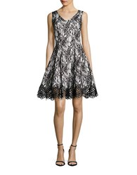 Chetta B Lace Fit And Flare Dress Black Ivory