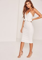 Missguided Strappy Frill Bodycon Dress White