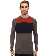 Smartwool Nts Mid 250 Color Block Crew Top Taupe Heather Men's Sweater