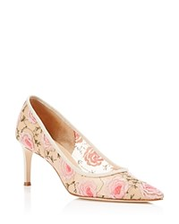 Bettye Muller Annebel Floral Embroidered Mesh Pointed Toe Pumps