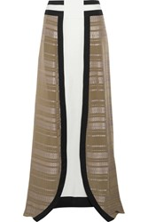 Zeus Dione Lotus Silk Jacquard And Silk Crepe Maxi Skirt Army Green