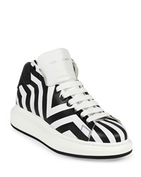Alexander Mcqueen Stripe Print Leather High Top Sneaker Black White Size 43Eu 10Us