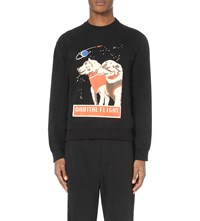 J.W.Anderson Space Dog Print Cotton Jersey Sweatshirt Black