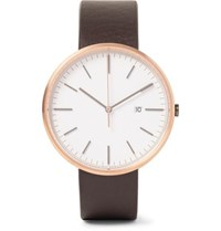 Uniform Wares M40 Rose Gold Pvd Coated Stainless Steel And Leather Watch Brown