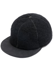 Ca4la Panelled Cap Calf Leather Wool Black