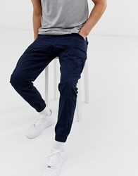 Another Influence Slim Fit Cuffed Cargo Navy
