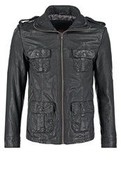 Superdry New Brad Hero Leather Jacket Black
