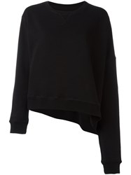 Maison Martin Margiela Mm6 Asymmetric Cropped Sweatshirt Black