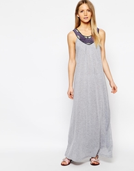 Jasmine Maxi Dress With Embroidered Collar Detail Grey