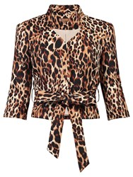 Jolie Moi Leopard Print High Collar Blazer Brown