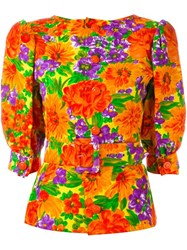 Givenchy Vintage Floral Print Belted Top Multicolour