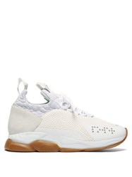 Versace Chain Reaction Mesh And Suede Trainers White