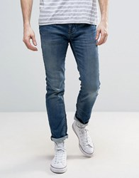 Selected Jeans Slim Fit In Mid Blue Blue