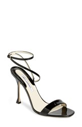 Brian Atwood Sienna Ankle Strap Sandal Black Patent