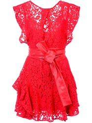 Marissa Webb Ruffled Lace Dress Nylon Viscose Cotton Red