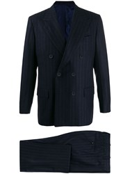Kiton Double Breasted Stripe Suit Blue