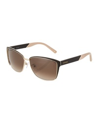 Escada Leather Detail Square Sunglasses Black Smoke