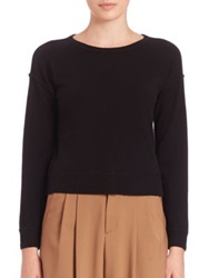 Alice Olivia Wool And Cashmere Cropped Sweater Black