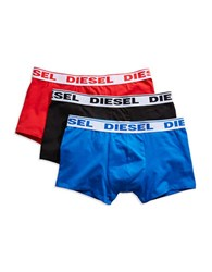 Diesel Three Pack Stretch Cotton Boxer Trunks Black Red
