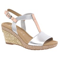 Gabor Jess Wide Wedge Heeled Sandals Silver