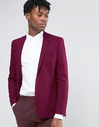 Asos Skinny Tweed Blazer In Burgundy Wool Mix Burgundy Red