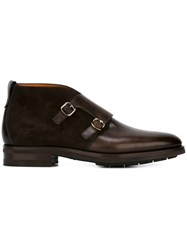 Santoni Monk Strap Boots Brown