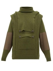 Stella Mccartney Hooded Cargo Pocket Wool Sweater Khaki