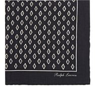 Ralph Lauren Purple Label Rustic Diamond Print Pocket Square Black