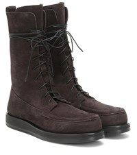 The Row Patty Suede Boots Brown