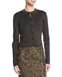 Escada Long Sleeve Button Front Cropped Cardigan Gold