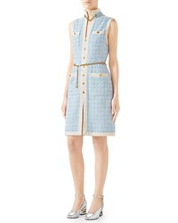 Gucci Sleeveless Short Tweed Dress With Chain Belt Light Blue