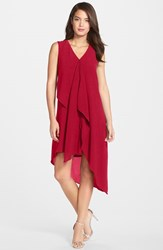Women's Adrianna Papell Ruffle Front Crepe High Low Dress Flare Red