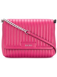 Dkny Quilted Crossbody Bag Women Lamb Skin One Size Pink Purple