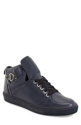 Versace Men's Collection Buckle High Top Sneaker Navy Blue Leather