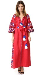 March11 Maxi Dress With Kilim Embroidery Red