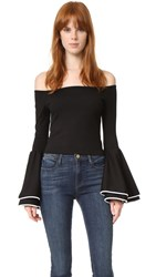 Torn By Ronny Kobo Mimi Top Black With White Trim