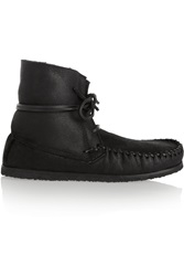 Isabel Marant Etoile Eve Shearling Lined Leather Moccasin Boots Black