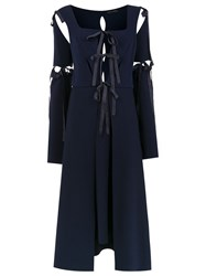 Gloria Coelho Midi Panelled Dress Blue